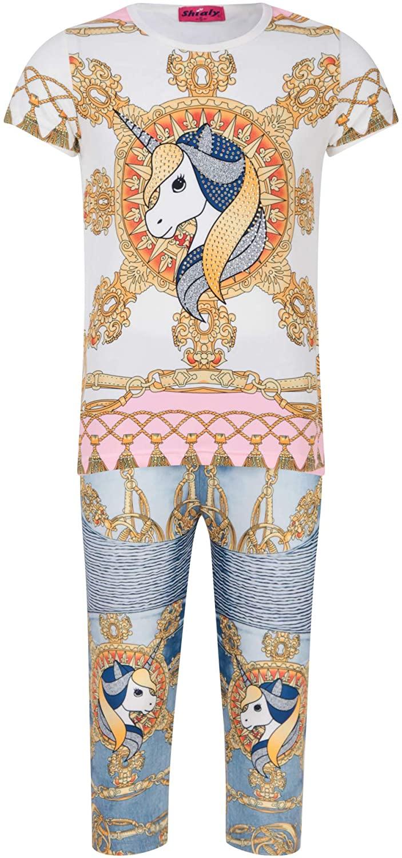 Girls Unicorn T-Shirt Leggings Diamante Gold Tee Glitter Sequin Jeans Set Summer