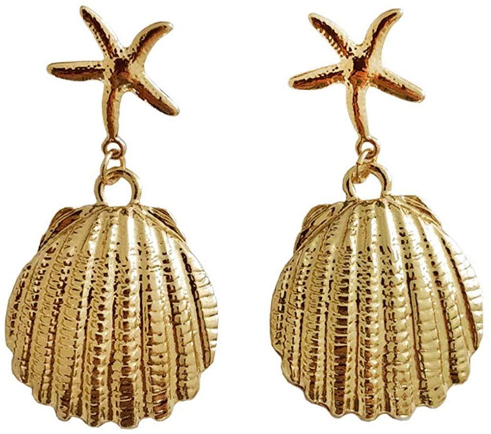 Bohemian Shell Starfish Dangle Earrings Vintage Exaggerated Seashell Cowrie Star Satement Earrings Stud Ear for Women Girls Summer Beach Jewelry