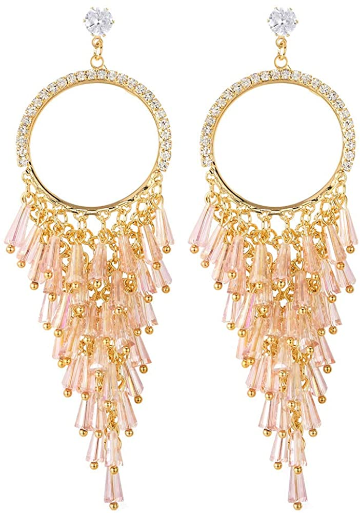 Dazzle Dress Prom Pink Crystal Rhinestone Cluster Grapes Tassel Large Circle Long Statement Earrings