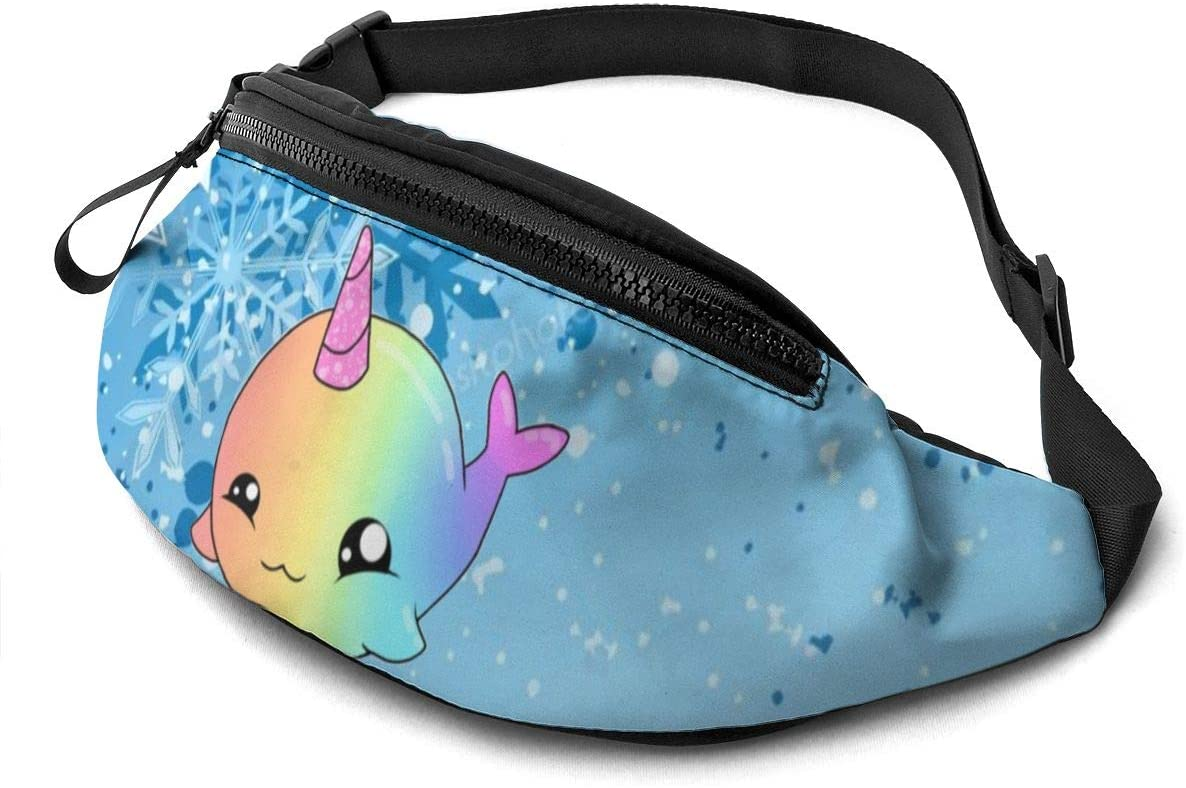 Narwhal Rainbow Fashion Casual Waist Bag Fanny Pack Travel Bum Bags Running Pocket For Men Women