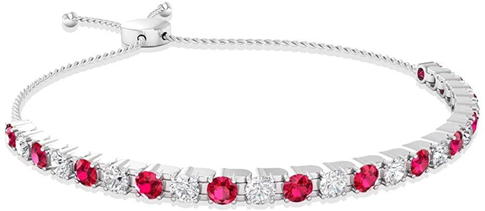 3.28 Carat Ruby SGL Certified Diamond Bolo Bracelet, Minimal Stackable Gold Chain Adjustable Bridal Bracelet, Alternative Red July Birthstone Bracelet