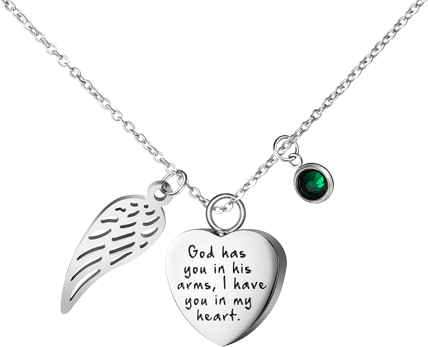 Joycuff Personalized Memorial Necklace Sympathy Gifts for Women Teen Girls Loss of Loved One Remembrance Jewelry Birthstone Charm Silver Stainless Steel Pendant