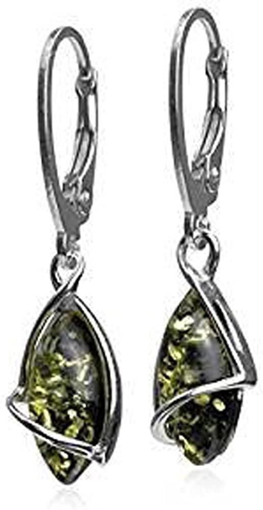 Green Amber Sterling Silver Marquise Leverback Earrings