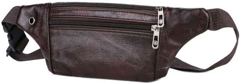 Yehyep Leather Waist Bag, Large Travel Money Pouch Waist Bum Bag Adjustable Genuine Leather Unisex
