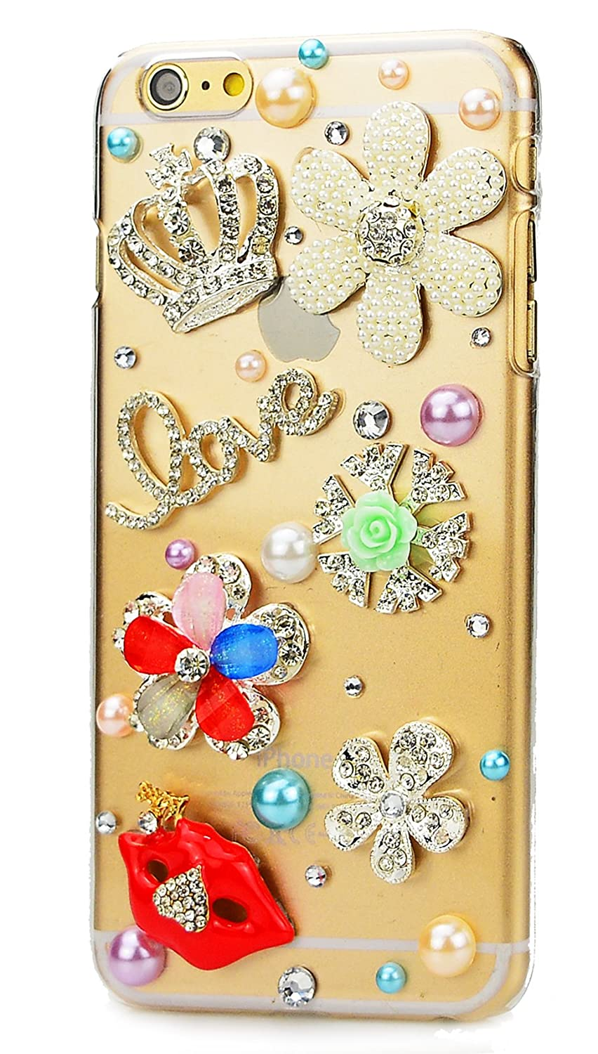 STENES Google Pixel Case - [Luxurious Series] 3D Handmade Shiny Crystal Sparkle Bling Case With Retro Bowknot Anti Dust Plug - Crown Flowers Love Sexy Lips/Colorful
