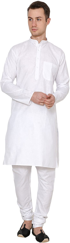 ROYAL Men's Indian Traditional Festive Cotton Linen Kurta Pyjama