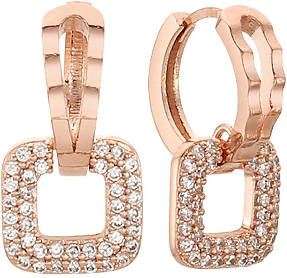 EVA 14K Gold Post Cubic Zircornia Square-Shaped drop Hoop Earrings Rose Gold Plating