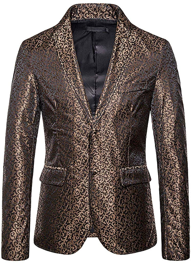 Centory ✨ Men Autumn Autumn Casual Gold Printed Button Jacket Long Sleeve