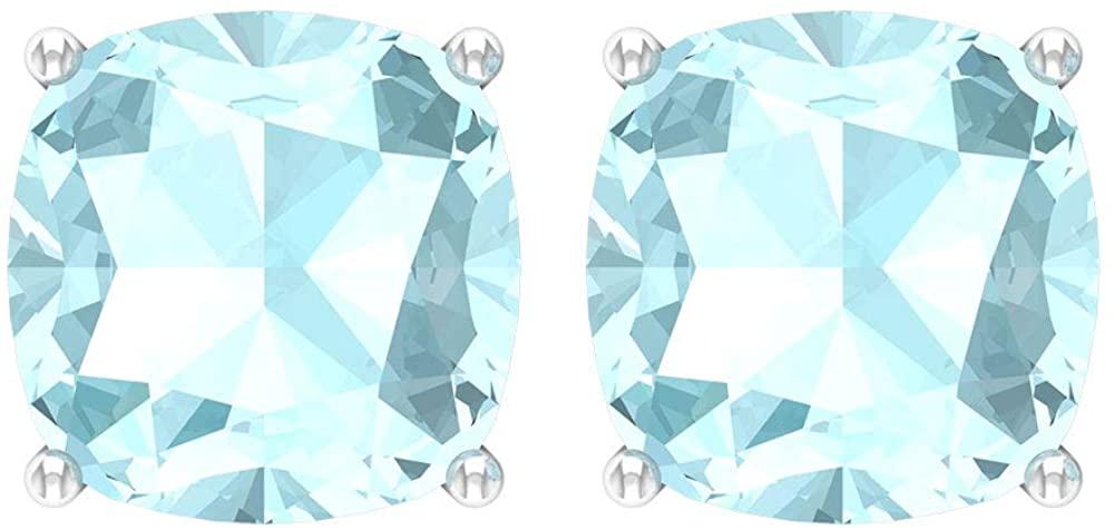 2.8 Ct Blue Topaz Sky Stud Earring, Bridesmaid Wedding Earring, SGL Certified Cushion Shape Birthstone Earring, Bridal Statement Earring, Anniversary, Screw Back