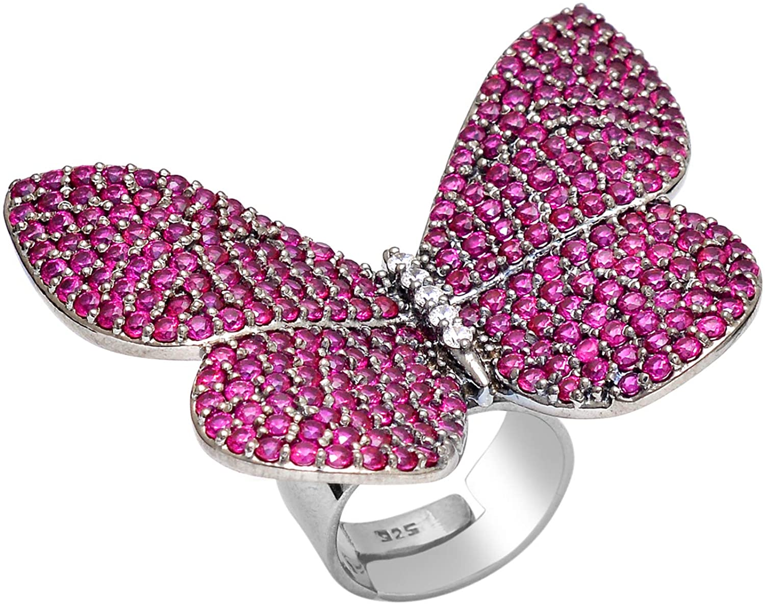 COLORS OF JEWELS 925 Sterling Silver Beautiful Cubic Zircon Adjustable Butterfly Ring Jewelry