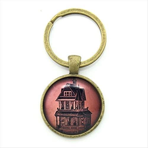 Rarido Custom Round Glass Metal Bezel Alloy Key Chain Van Gogh Starry Night Abstract Art Picture Print Keychain Artwork Gift - (Color: KC97)