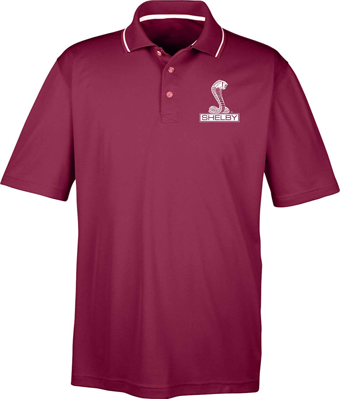 Ford Mustang Shelby Cobra Pocket Print Two Tone Polo, Maroon 6XL