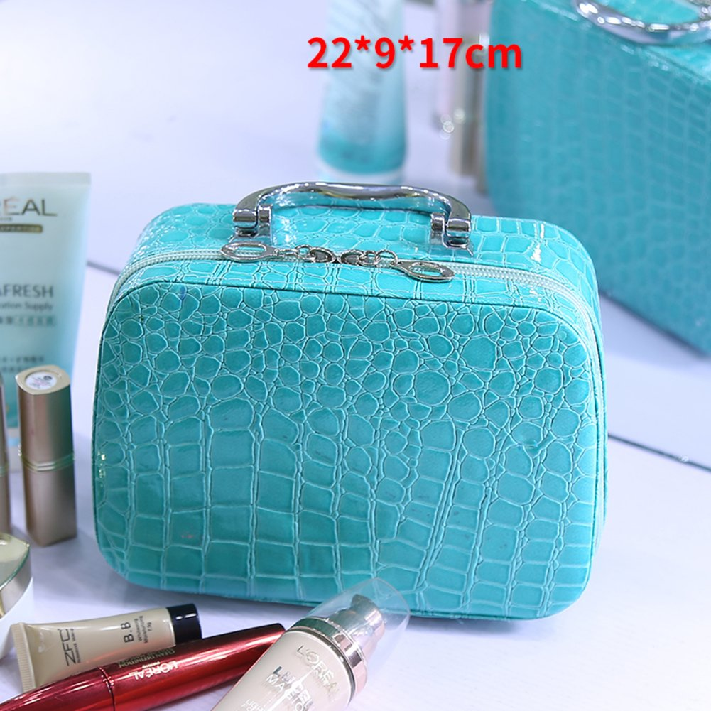 Grid Cosmetic bags, Makeup bags travel Large capacity Storage box Simple Small Portable Suitcase lady Cute Waterproof Toiletry bag for women-blue A 22x9x17cm(9x4x7inch)