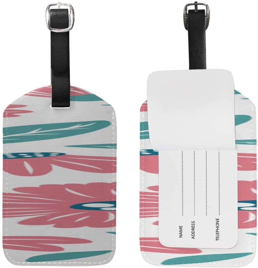 Luggage Tag Floral Color Pattern Luggage Tag With Full Privacy Cover Tag For Baggage Suitcase Bag Tag Leather 1 Piece