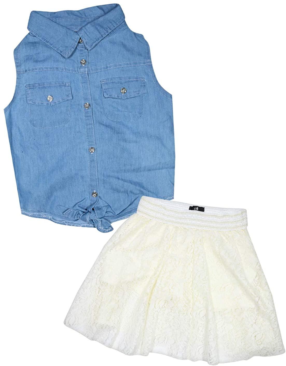 dollhouse Girls' 2 Piece Denim Short Sleeve Top and Skirt Set