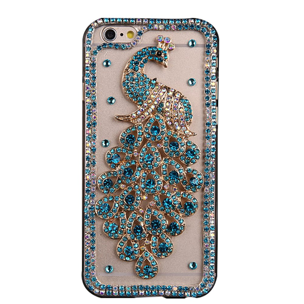 STENES Google Pixel Case - [Luxurious Series] 3D Handmade Shiny Crystal Sparkle Bling Case With Retro Bowknot Anti Dust Plug - Luxury Peacock/Green