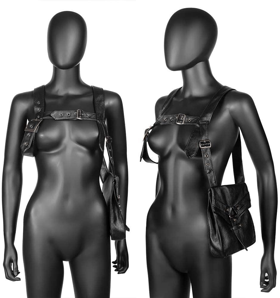 HPZSX Multifunctional Steampunk Waist Belt Bag Shoulder Gothic Black PU Leather Backpack Outdoor Motorcycling Biker Tactical Bag