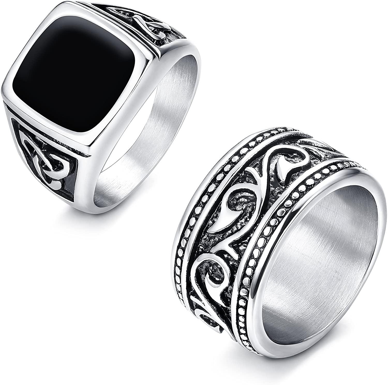 Finrezio 2Pcs Stainless Steel Rings for Men Vintage Biker Signet & Band Ring Set Size 7-13