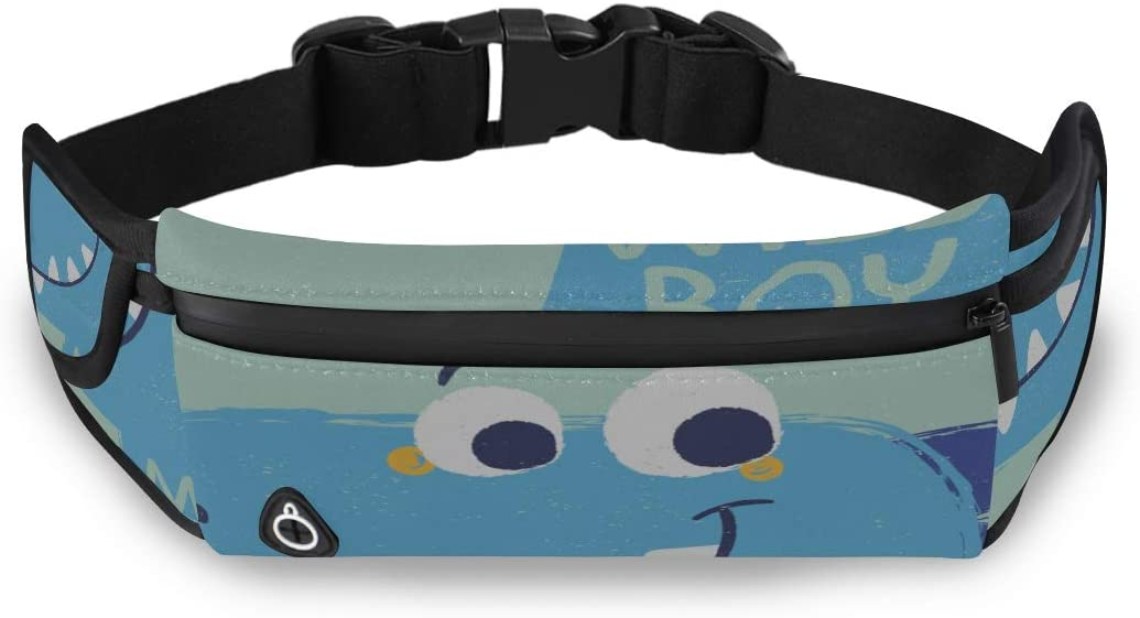 Cool Baby Dinosaur Family Cartoon Fashion Outdoor Bag Fanny Packs For Boys Bag Men Waist With Adjustable Strap For Workout Traveling Running