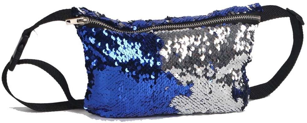YEKEYI Reversible Mermaid Sparkling Sequins Glitter Belt Waist Bag Handbag Wallet Purse Case Cosmetic Makeup Bag Waist