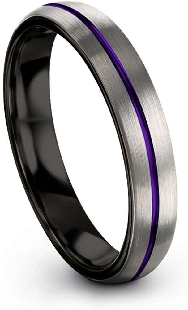 Chroma Color Collection Tungsten Carbide Wedding Band Ring 4mm for Men Women Green Red Blue Purple Black Copper Fuchsia Teal Center Line Dome Black Interior Grey Exterior Brushed Polished