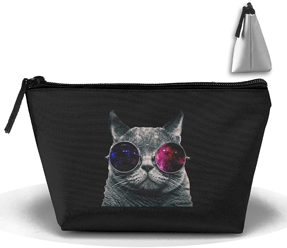 HTSS Cool Cat With Glasses Portable Makeup Receive Bag Storage Large Capacity Bags Hand Travel Wash Bag