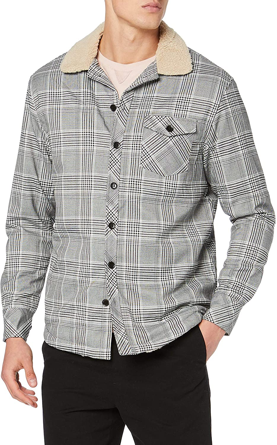 Urban Classics Men Lightweight Jacket Sherpa Lined Glencheck Shirt
