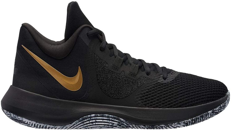 Nike Air Precision 2 Mens Basketball Shoes (8.5, Blk MTLC Gold Wht)