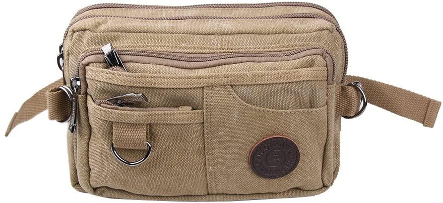 Genda 2Archer Vintage Canvas Waist Bag Multiple Pocket Fanny Pack Hip Purse Belt Bag Bum Bag for Sports Travel (Khaki)