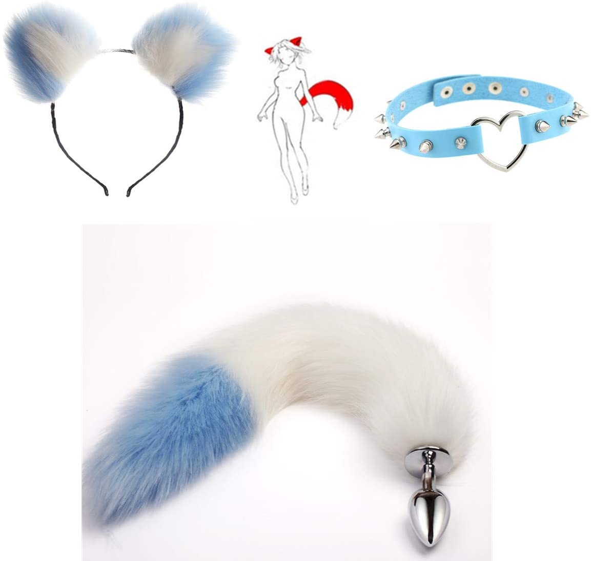 Fluffy Faux Wolf Pl-úg Tail & Ears Headband & Heart-Shape Spikes Collar Cute Role Play Costume - S