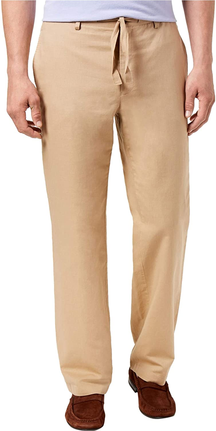 I-N-C Mens Drawstring Casual Trouser Pants, Beige, 34W x 34L