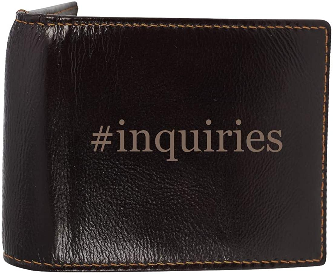 #inquiries - Genuine Engraved Hashtag Soft Cowhide Bifold Leather Wallet