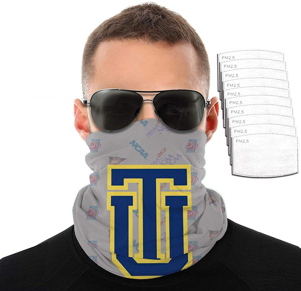 NACC Mask College Team Logo Funny Neck Warmer Men Women Neck Gaiter Elastic Seamless Face Mask Headband Bandana for Outdoor Sport With Filters- Tulsa Golden Hurricane