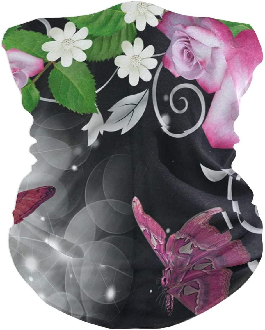 Ladninag Pink Rose Butterfly Face Mask UV Sun Mask Dust Wind Neck Gaiter Magic Bandana