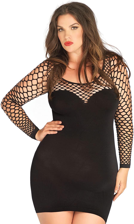 1 PC. Ladies Seamless Mini Dress with Diamond Net Bodice and Sleeves - Plus Size - Black