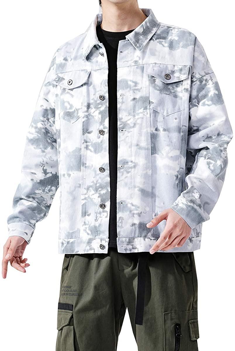 Seidarise Men's Denim Trucker Jacket Cotton Colorful Casual
