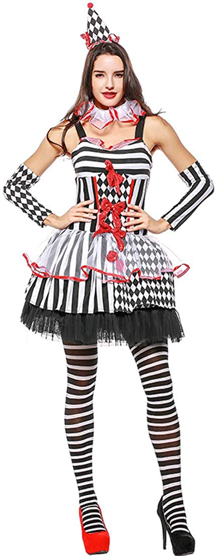 Women Halloween Cosplay Party Clown Circus Queen Game Costume Dress Clothing White