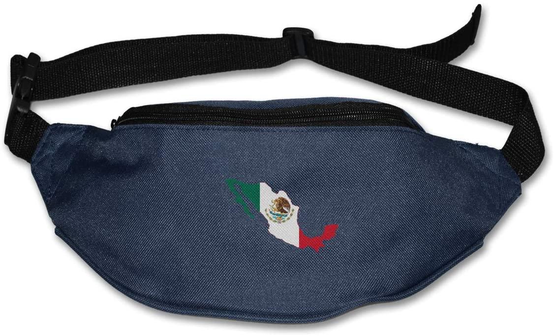 SWEET-YZ Unisex Waist Pack Flag Map Mexico Flat Fanny Bag Pack for Sport Running