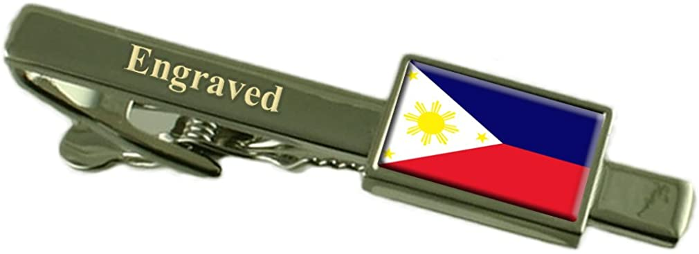Philippines Flag Engraved Personalised Tie Clip