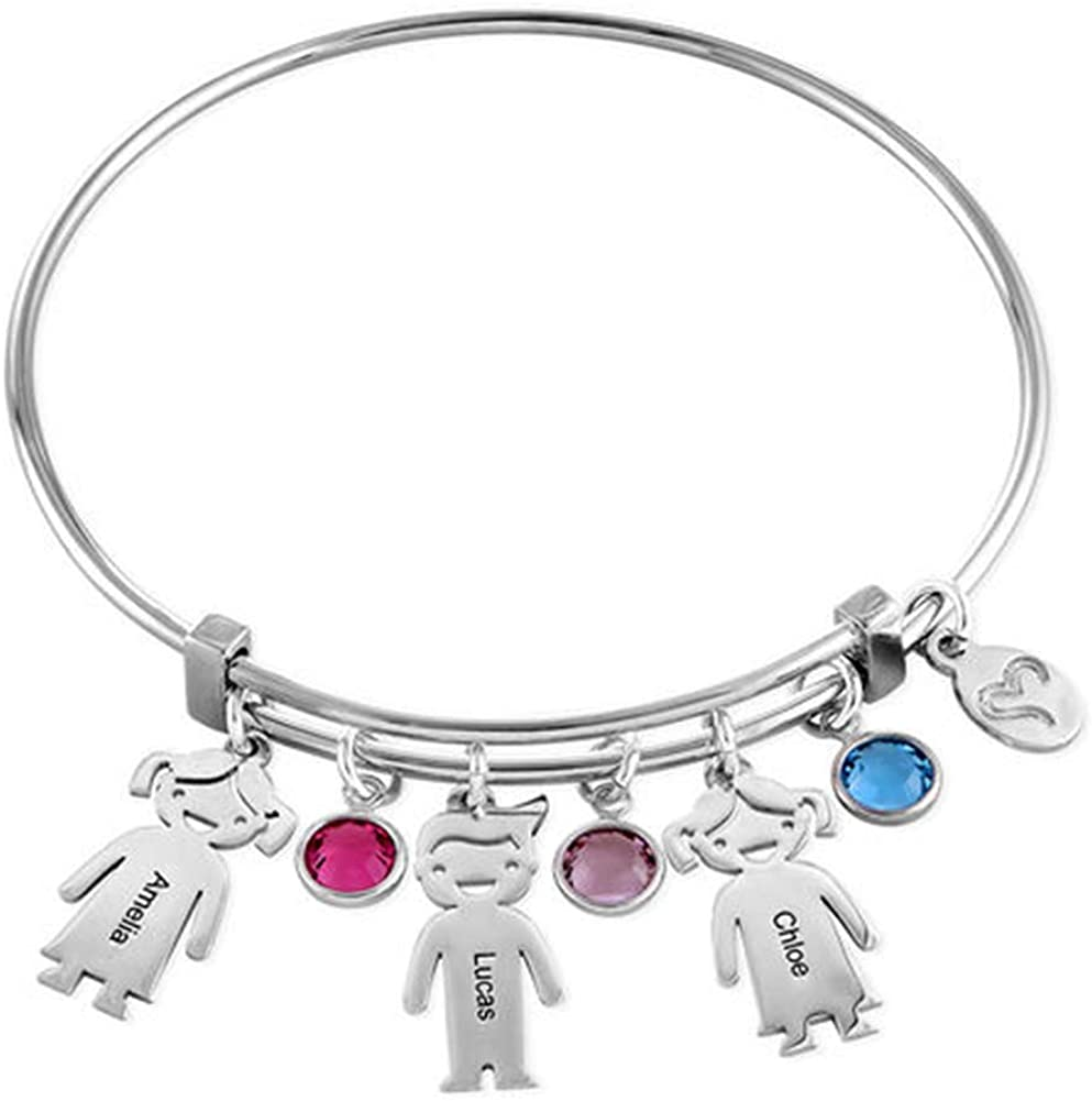 DARUIRONG 925 Sterling Silver Personalized Bracelet with Kids Charm,Customized with kid's Names,Gift for Mother(Silver)