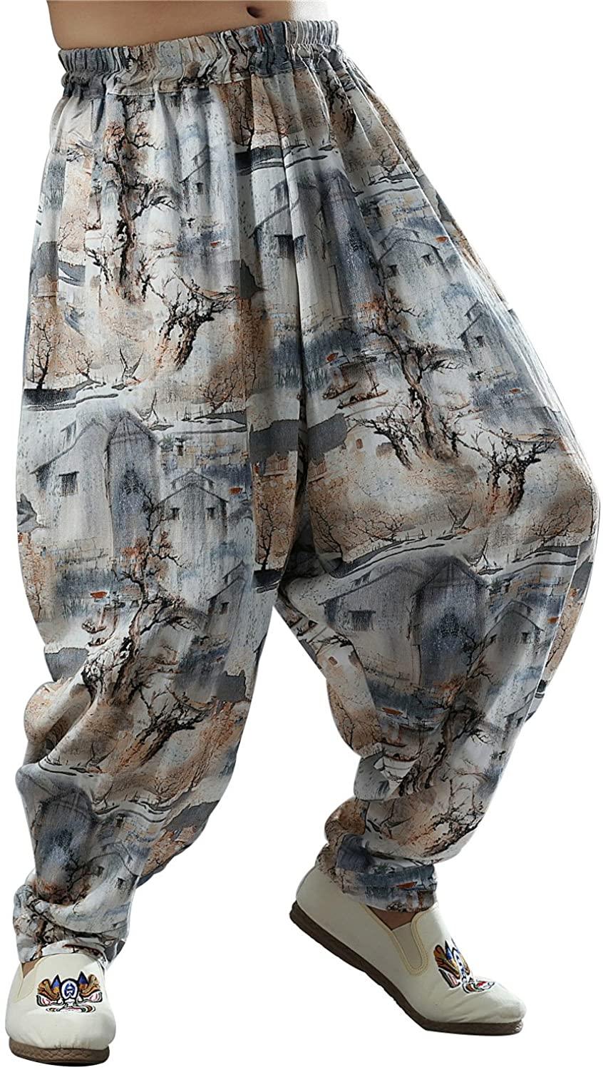 Idopy Men`s Chinese Traditional Dragon Baggy Harem Pants Trousers