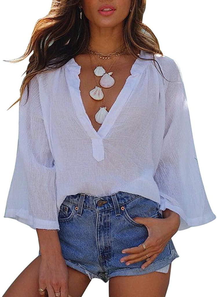 ZEFOTIM Fashion Womens Chiffon Solid T-Shirt Office Ladies Plain Roll Sleeve Blouse Tops