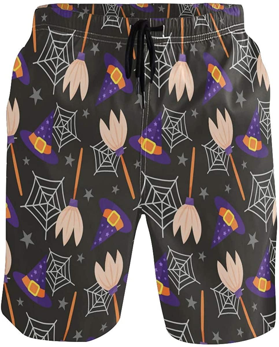 Sinestour Mens Swim Trunks Happy Halloween Swimming Trunks with Pocket Beach Shorts