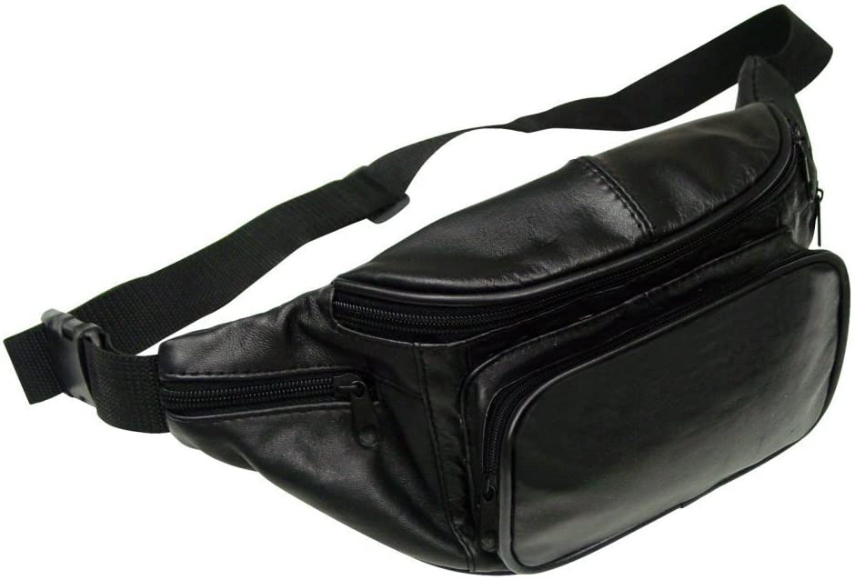 Preferred Nation Leather Fanny Pack, Black, One Size