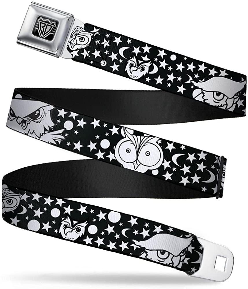 Buckle-Down Seatbelt Belt - Owl Expressions Black/White - 1.5