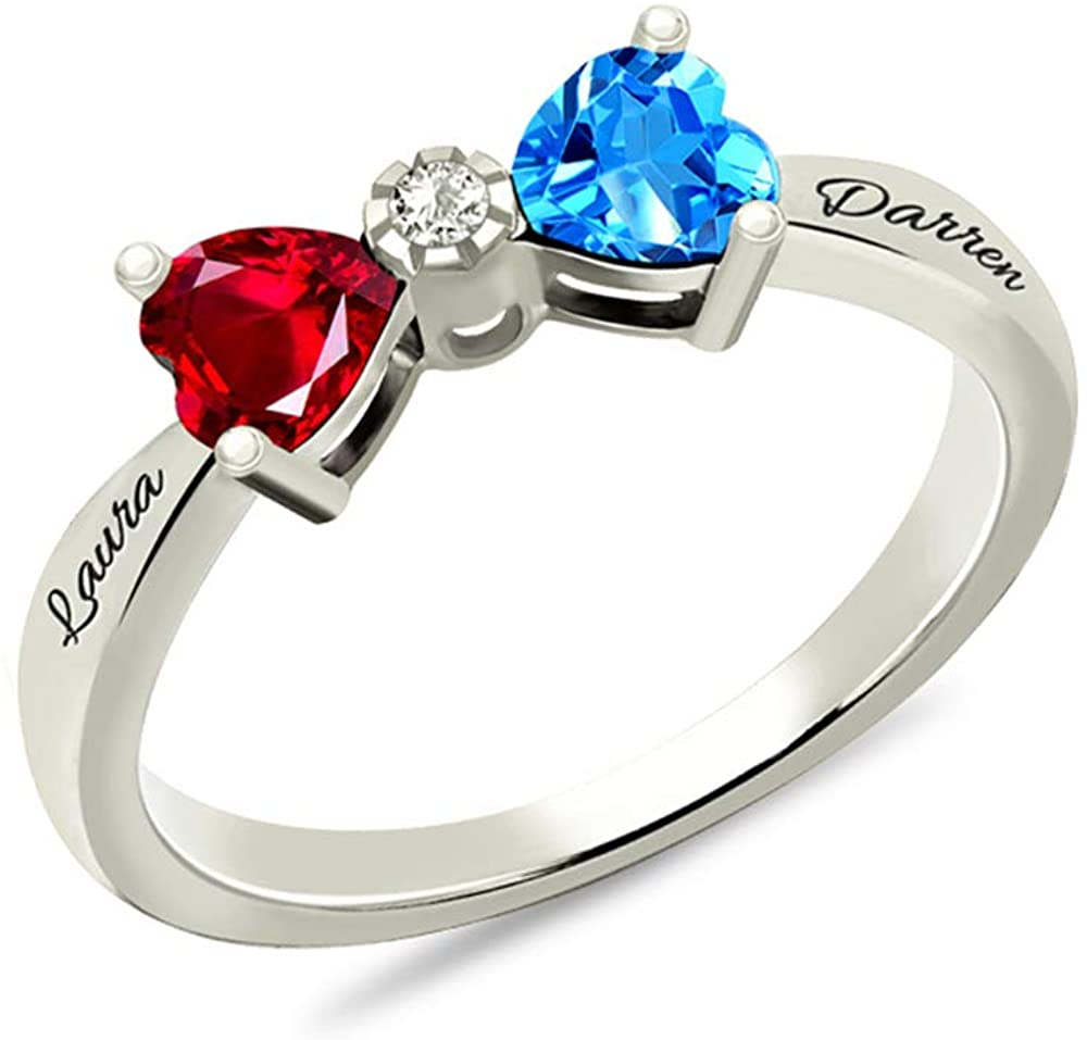 Jumping Birthstone Birthstones Bow Ring Sterling Silver Unique Personalized Engraved Ring Jewelry for Your Love