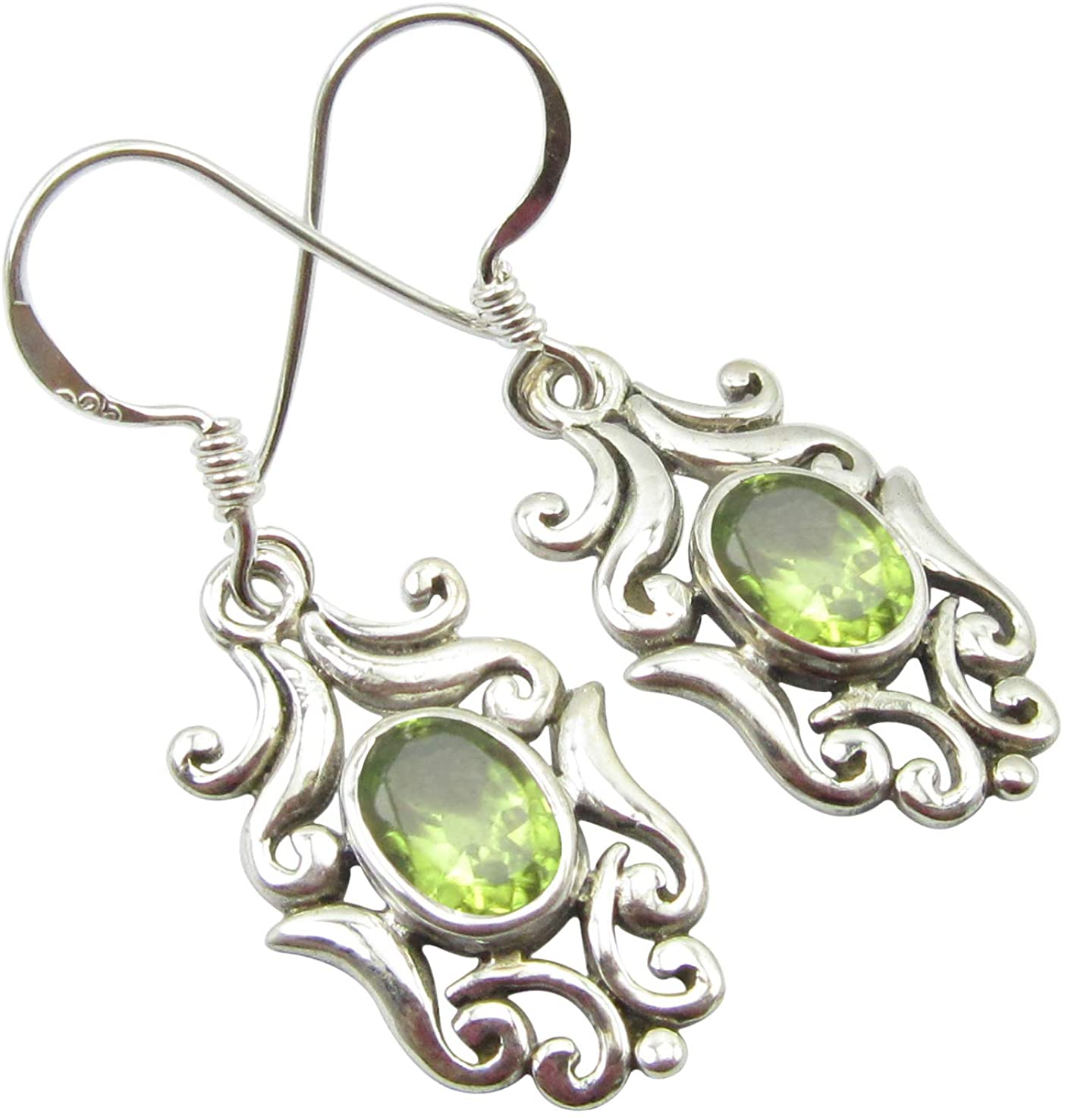 SilverStarJewel Peridot August Birthstone Earrings 1.4