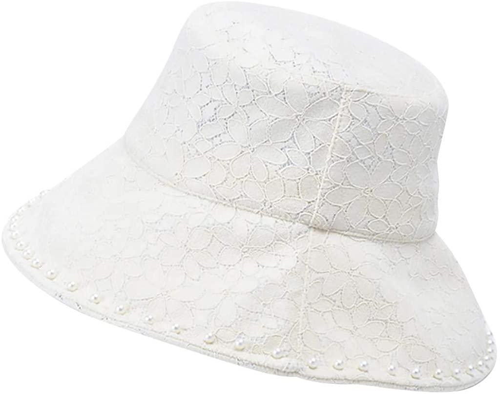 Weiliru Lace Fisherman Hat Female Bucket Cap Solid Color Cover Face Summer Cap Sun Hat