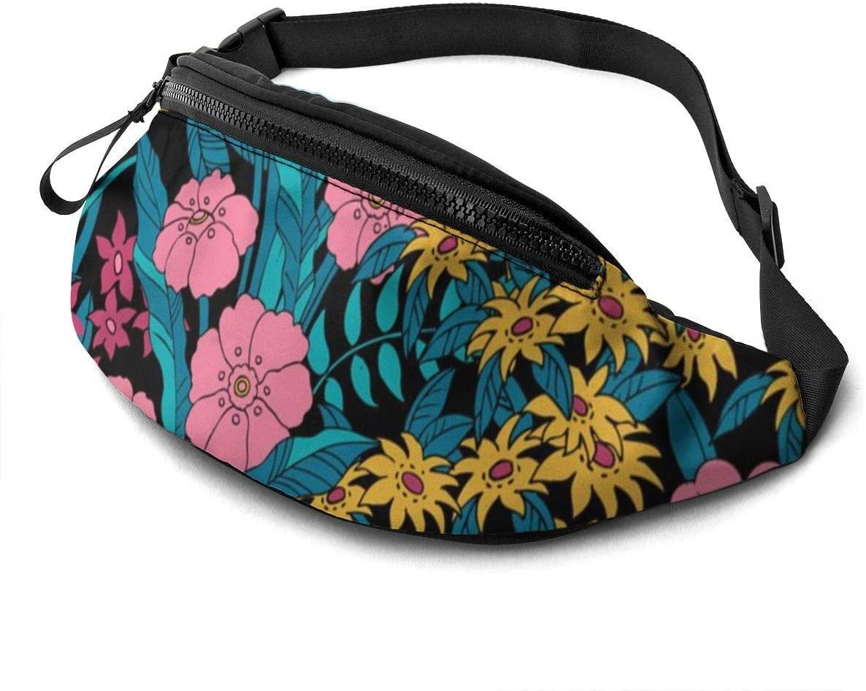atomic floral print Fanny Pack for Men Women Waist Pack Bag with Headphone Jack and Zipper Pockets Adjustable Straps
