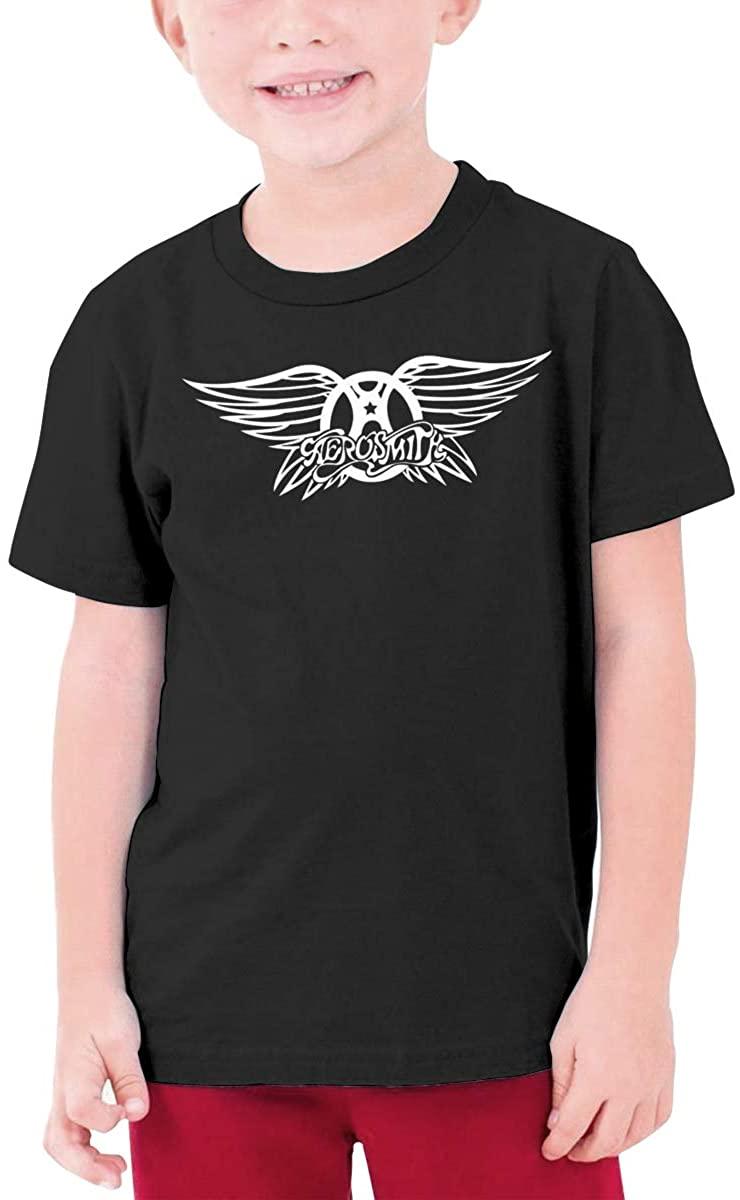Boys and Girls Teens Short Sleeve T-Shirt Aerosmith Generous Eye-Catching Style Black